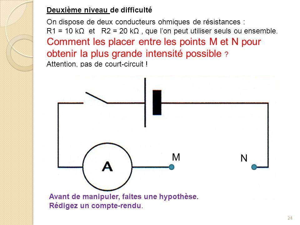 24 R2 On dispose de deux conducteurs ohmiques de résistances : R1 = 10 kΩ et R2 = 20 kΩ, que lon peut utiliser seuls ou ensemble. Comment les placer e
