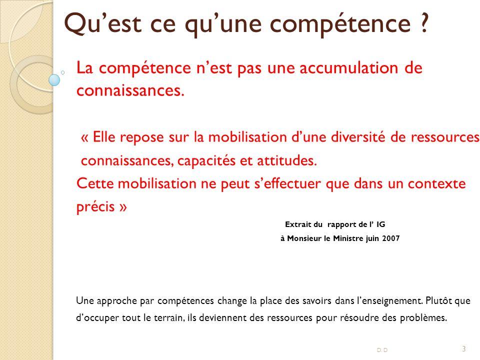 Quest ce quune compétence .La compétence nest pas une accumulation de connaissances.