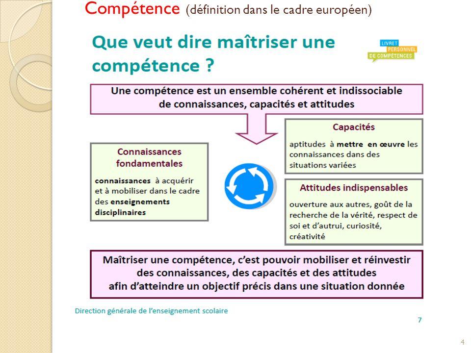 Compétence (définition dans le cadre européen) 4