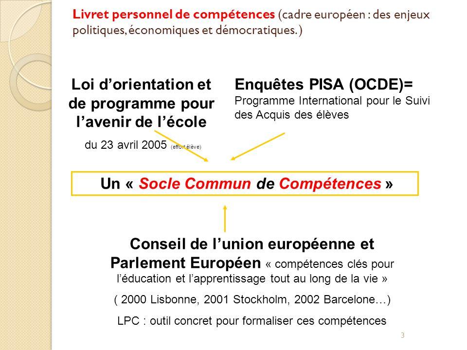 3 Un « Socle Commun de Compétences » Livret personnel de compétences (cadre européen : des enjeux politiques, économiques et démocratiques. ) Loi dori