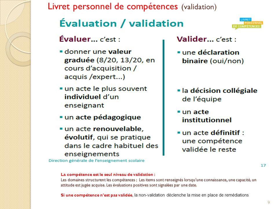 ( Livret personnel de compétences (validation) 9 La compétence est le seul niveau de validation : Les domaines structurent les compétences ; Les items sont renseignés lorsquune connaissance, une capacité, un attitude est jugée acquise.