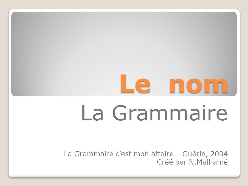 Le nom La Grammaire La Grammaire cest mon affaire – Guérin, 2004 Créé par N.Malhamé