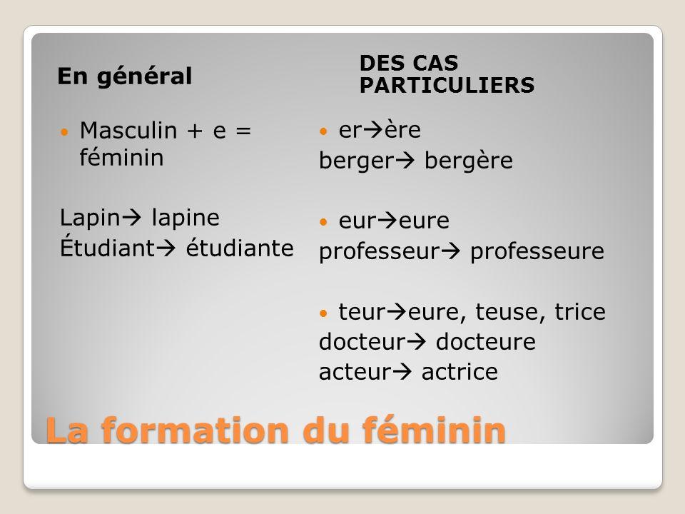 La formation du féminin En général DES CAS PARTICULIERS Masculin + e = féminin Lapin lapine Étudiant étudiante er ère berger bergère eur eure professe