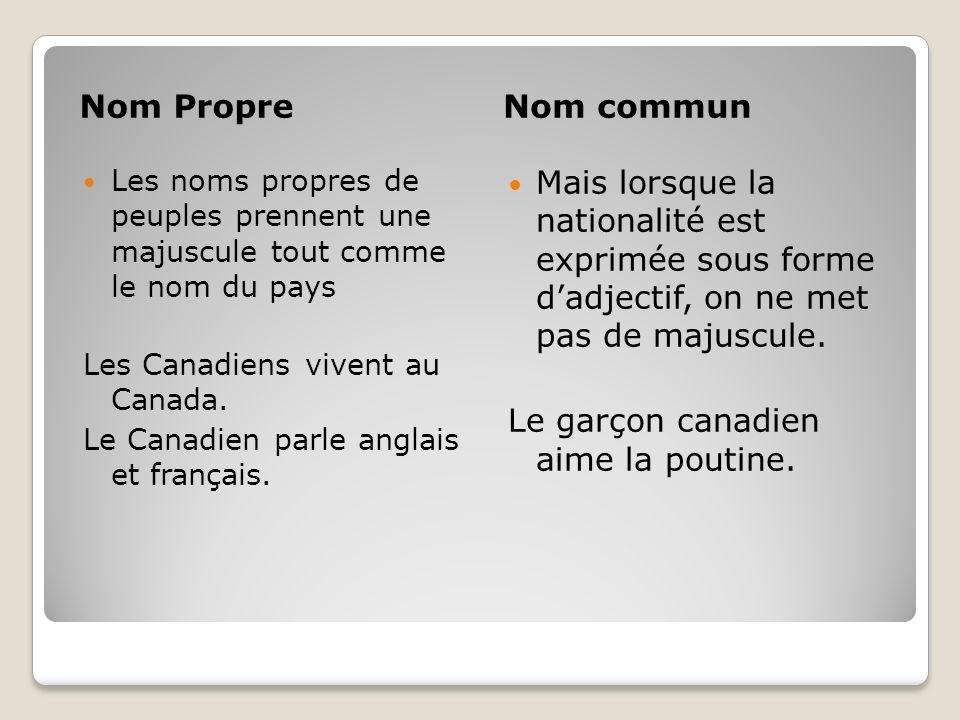 Nom PropreNom commun Les noms propres de peuples prennent une majuscule tout comme le nom du pays Les Canadiens vivent au Canada. Le Canadien parle an