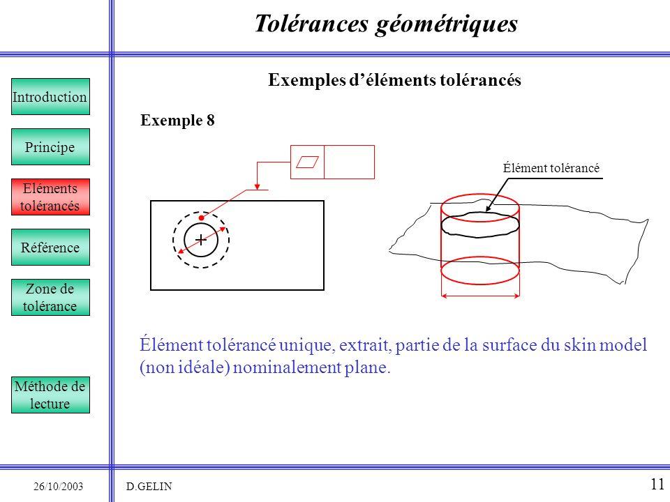 Tolérances géométriques 26/10/2003 D.GELIN 11 Exemples déléments tolérancés Exemple 8 Élément tolérancé unique, extrait, partie de la surface du skin