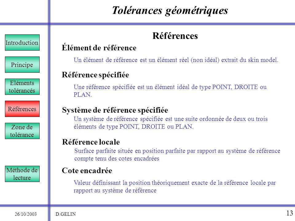Tolérances géométriques 26/10/2003 D.GELIN 13 Élément de référence Un élément de référence est un élément réel (non idéal) extrait du skin model. Réfé