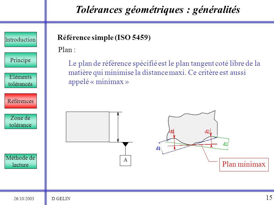 Tolérances géométriques : généralités 26/10/2003 D.GELIN 15 Référence simple (ISO 5459) Le plan de référence spécifié est le plan tangent coté libre d