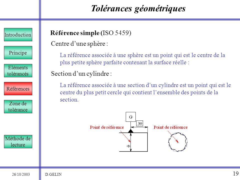 Tolérances géométriques 26/10/2003 D.GELIN 19 Référence simple (ISO 5459) La référence associée à une sphère est un point qui est le centre de la plus