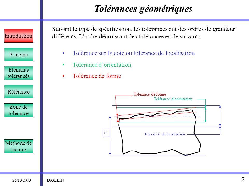 Tolérances géométriques 26/10/2003 D.GELIN 2 Suivant le type de spécification, les tolérances ont des ordres de grandeur différents. Lordre décroissan