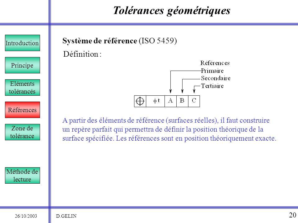 Tolérances géométriques 26/10/2003 D.GELIN 20 Système de référence (ISO 5459) A partir des éléments de référence (surfaces réelles), il faut construir