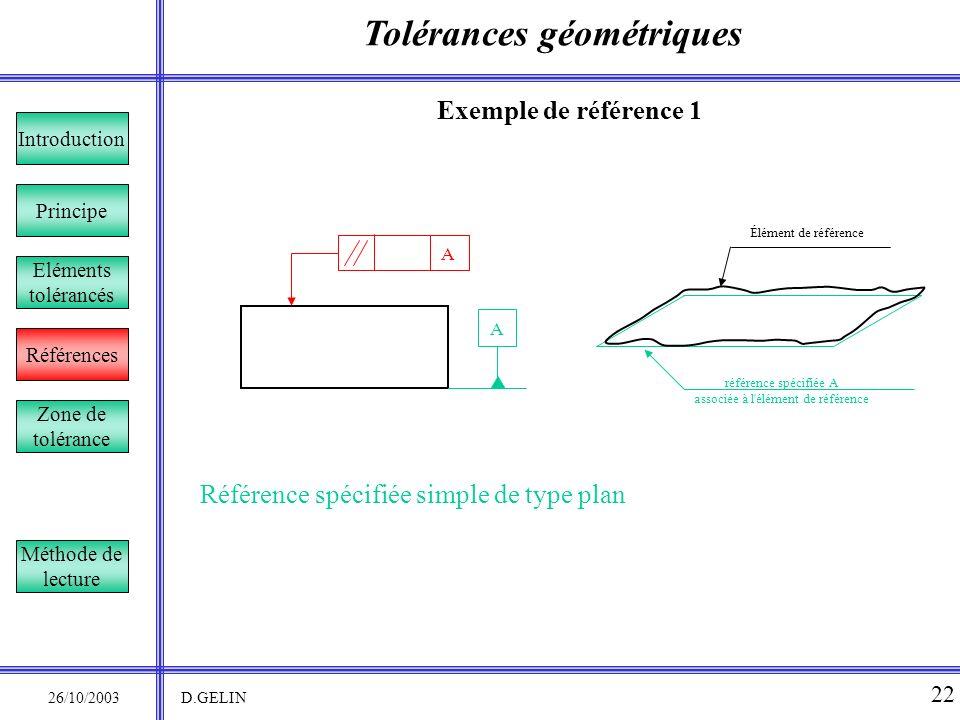 Tolérances géométriques 26/10/2003 D.GELIN 22 Exemple de référence 1 Référence spécifiée simple de type plan Principe Références Introduction Eléments