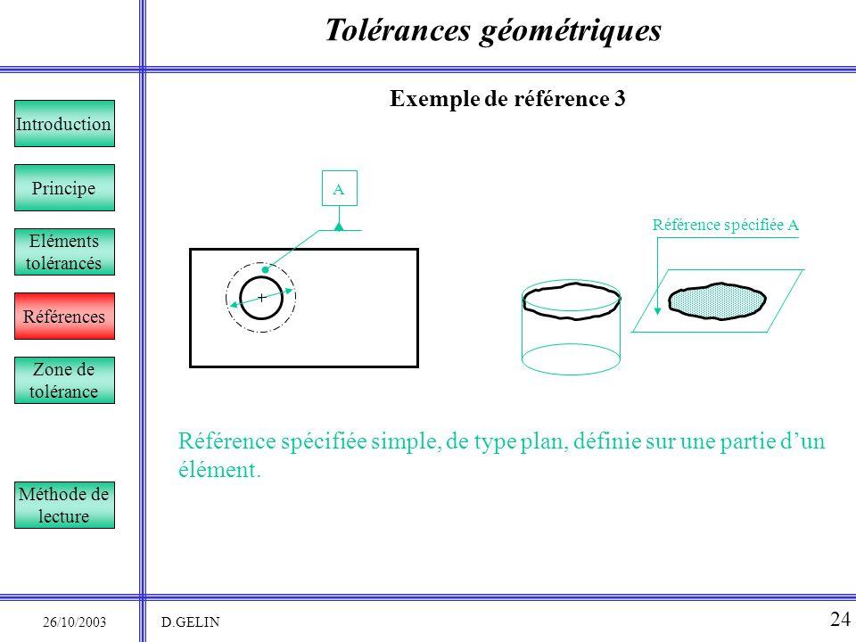 Tolérances géométriques 26/10/2003 D.GELIN 24 Exemple de référence 3 Référence spécifiée simple, de type plan, définie sur une partie dun élément. Pri