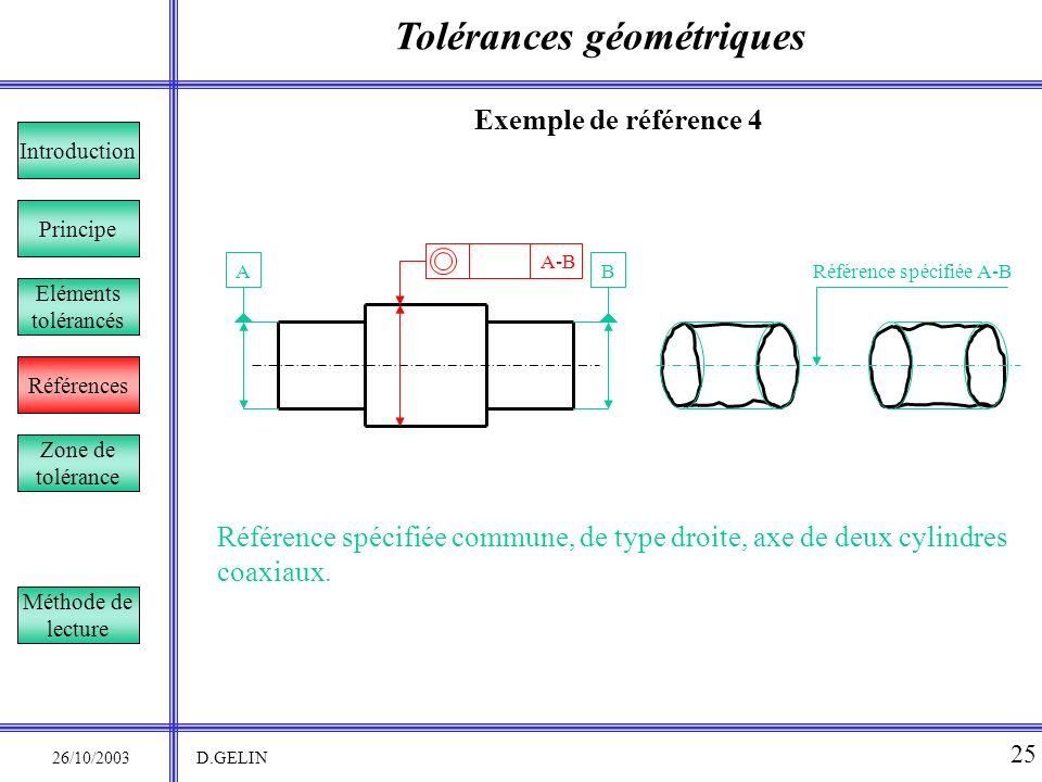 Tolérances géométriques 26/10/2003 D.GELIN 25 Exemple de référence 4 Référence spécifiée commune, de type droite, axe de deux cylindres coaxiaux. Prin