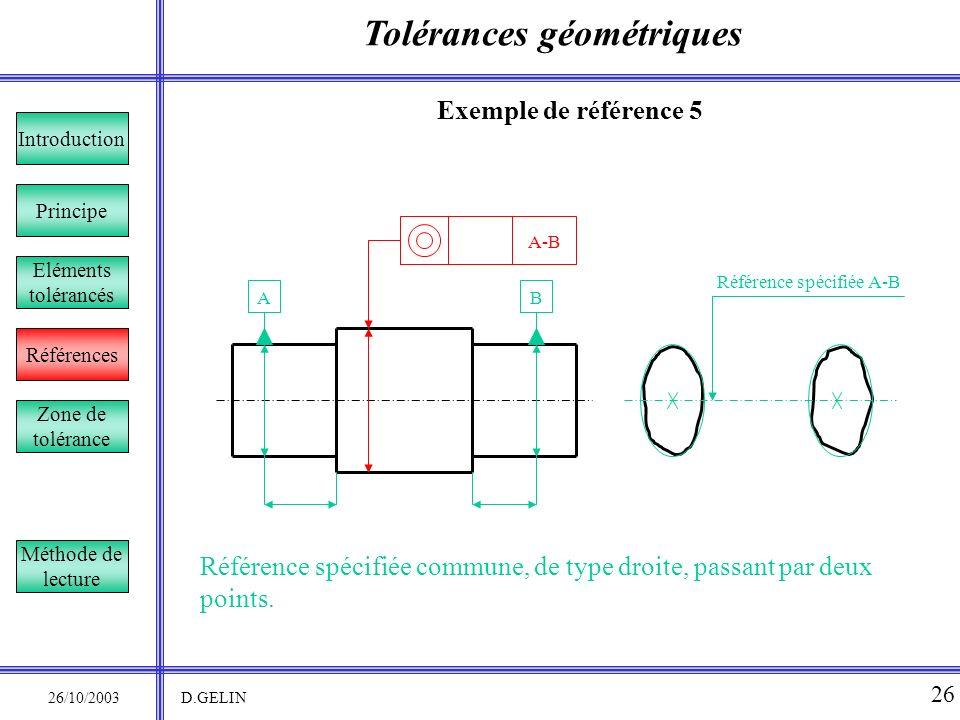 Tolérances géométriques 26/10/2003 D.GELIN 26 Exemple de référence 5 Référence spécifiée commune, de type droite, passant par deux points. Principe Ré