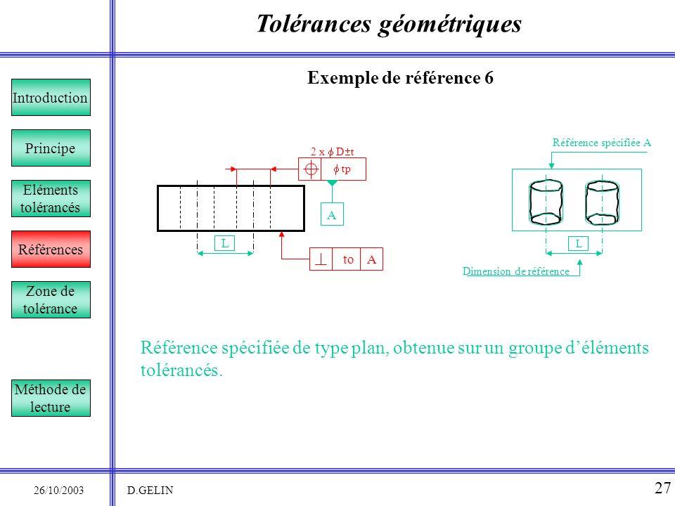 Tolérances géométriques 26/10/2003 D.GELIN 27 Exemple de référence 6 Référence spécifiée de type plan, obtenue sur un groupe déléments tolérancés. Pri