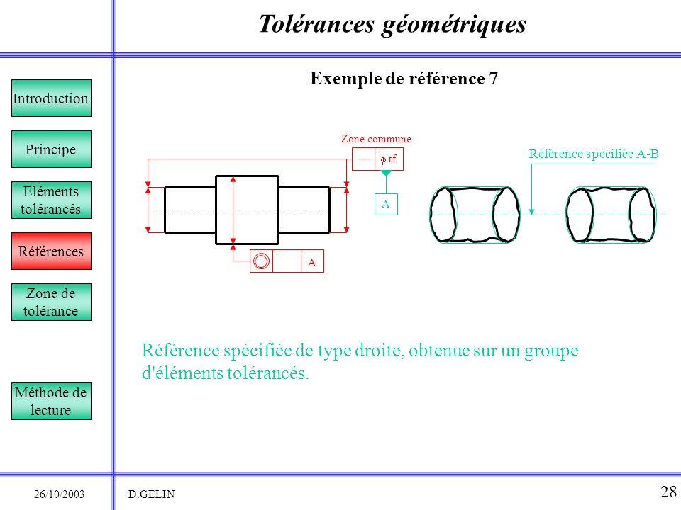 Tolérances géométriques 26/10/2003 D.GELIN 28 Exemple de référence 7 Référence spécifiée de type droite, obtenue sur un groupe d'éléments tolérancés.