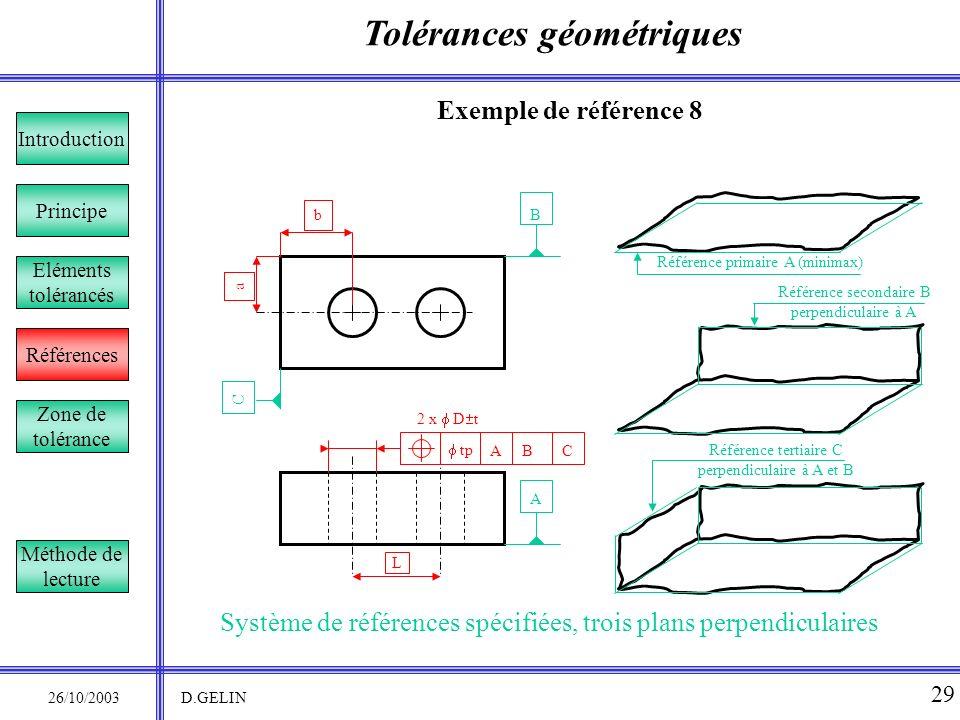 Tolérances géométriques 26/10/2003 D.GELIN 29 Exemple de référence 8 Système de références spécifiées, trois plans perpendiculaires Principe Référence