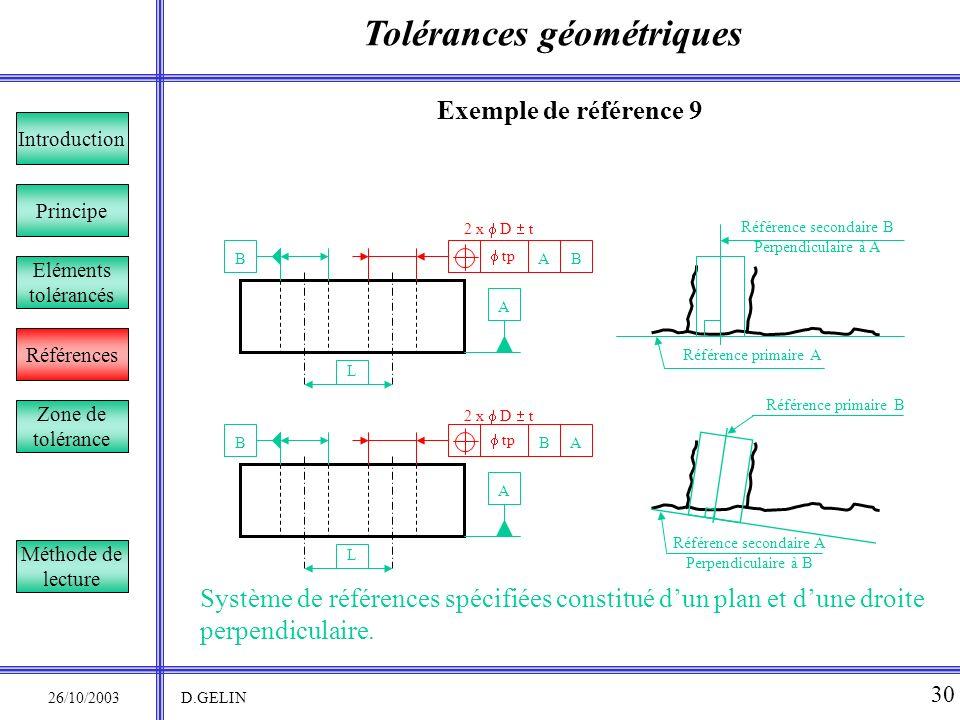 Tolérances géométriques 26/10/2003 D.GELIN 30 Exemple de référence 9 Système de références spécifiées constitué dun plan et dune droite perpendiculair