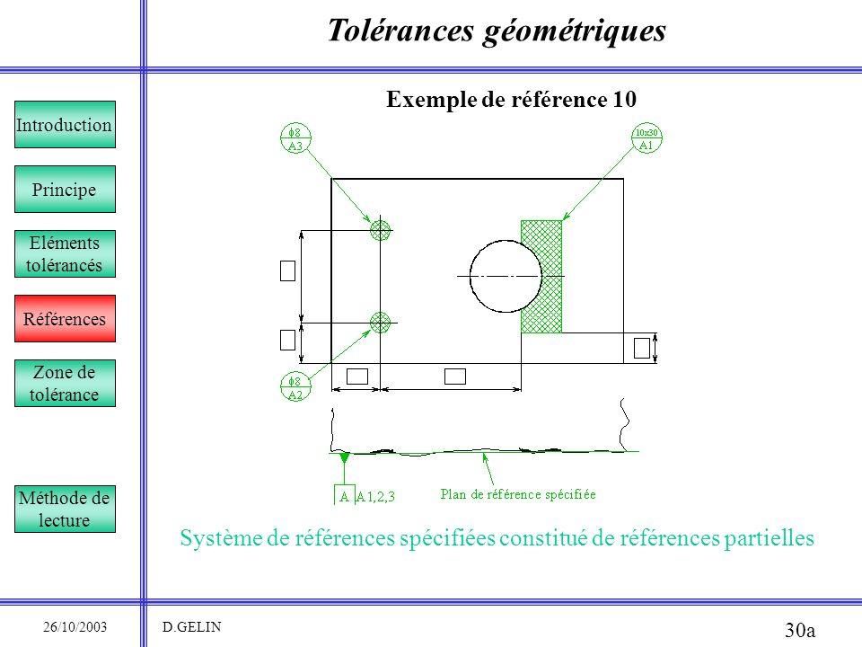 Tolérances géométriques 26/10/2003 D.GELIN 30a Exemple de référence 10 Système de références spécifiées constitué de références partielles Principe Ré