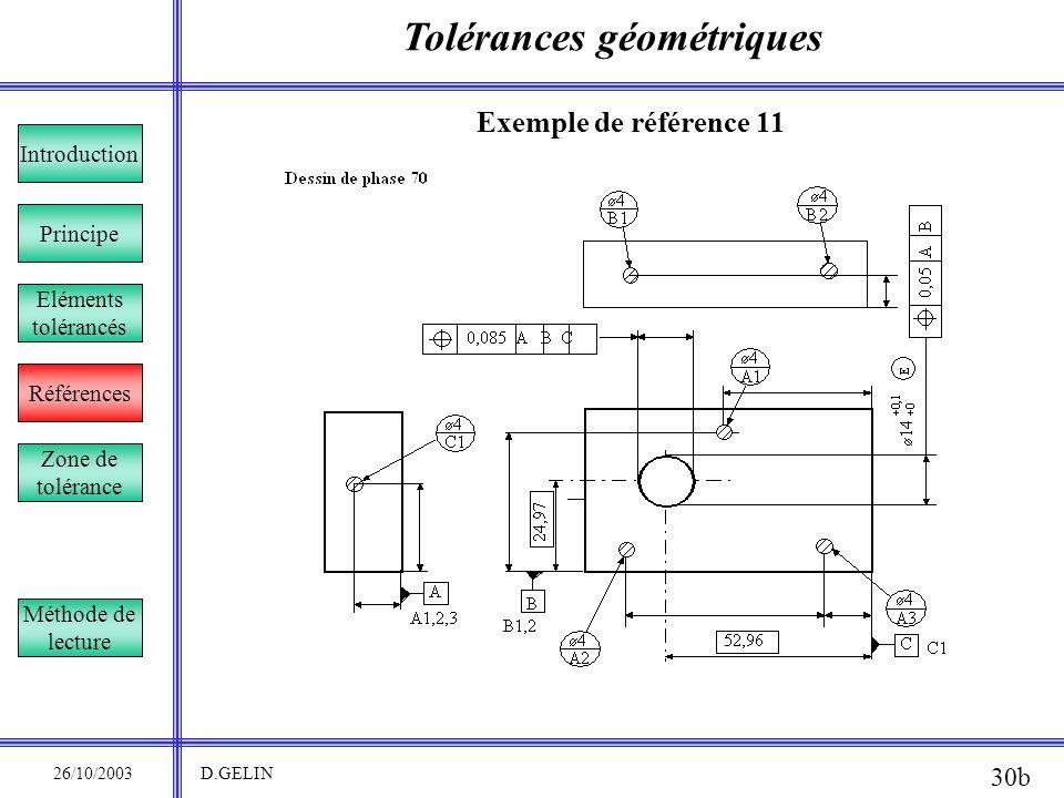 Tolérances géométriques 26/10/2003 D.GELIN 30b Exemple de référence 11 Principe Références Introduction Eléments tolérancés Zone de tolérance Méthode