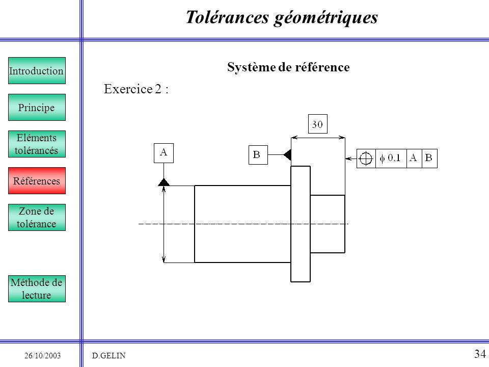 Tolérances géométriques 26/10/2003 D.GELIN 34 Système de référence Exercice 2 : Principe Références Introduction Eléments tolérancés Zone de tolérance