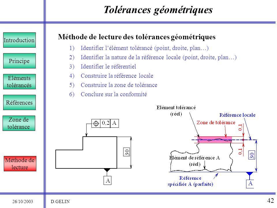 Tolérances géométriques 26/10/2003 D.GELIN 42 Principe Références Introduction Eléments tolérancés Méthode de lecture des tolérances géométriques 1)Id