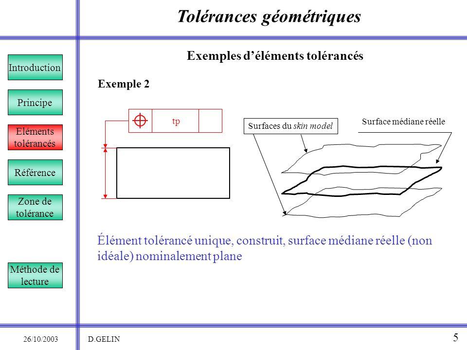 Tolérances géométriques 26/10/2003 D.GELIN 5 Exemple 2 Exemples déléments tolérancés Élément tolérancé unique, construit, surface médiane réelle (non