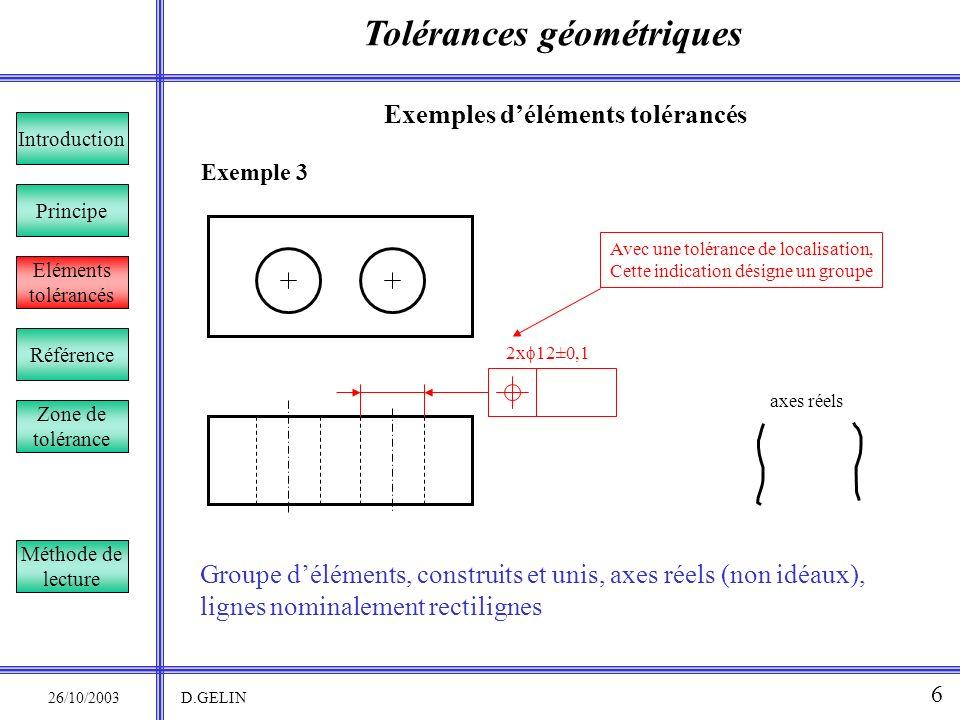 Tolérances géométriques 26/10/2003 D.GELIN 6 Exemple 3 Exemples déléments tolérancés Référence Introduction Eléments tolérancés Principe Zone de tolér
