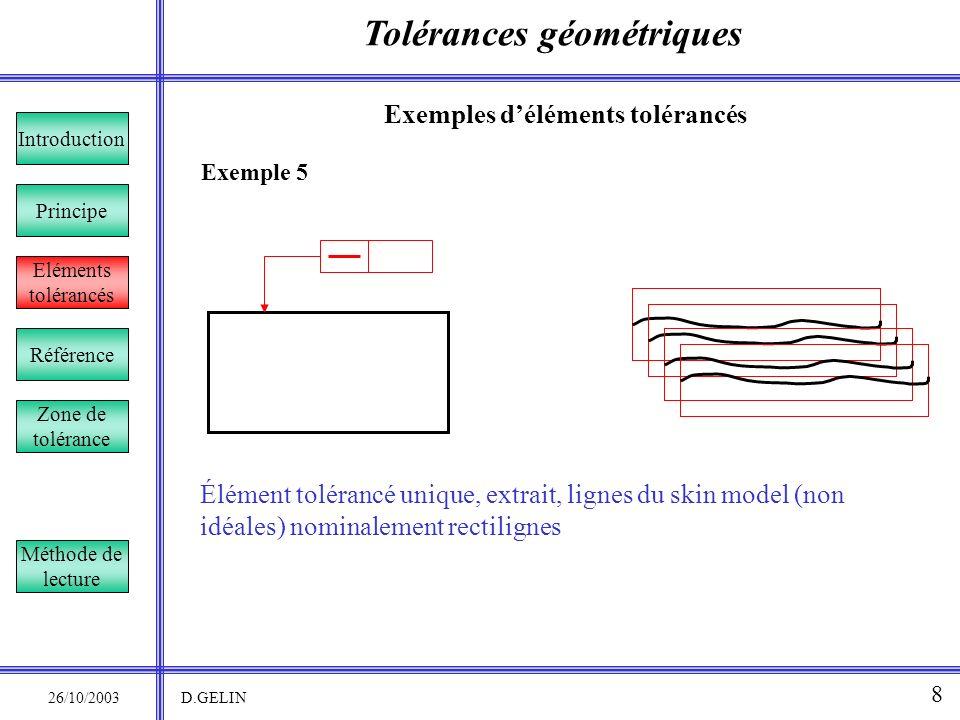 Tolérances géométriques 26/10/2003 D.GELIN 8 Exemple 5 Exemples déléments tolérancés Élément tolérancé unique, extrait, lignes du skin model (non idéa