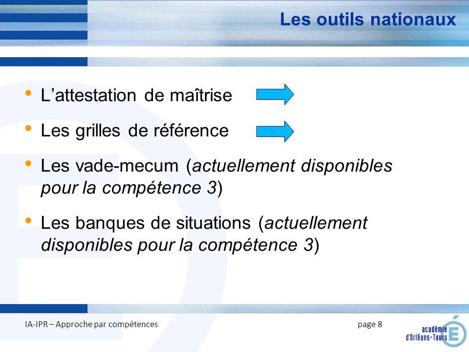 E Les outils nationaux Lattestation de maîtrise Les grilles de référence Les vade-mecum (actuellement disponibles pour la compétence 3) Les banques de