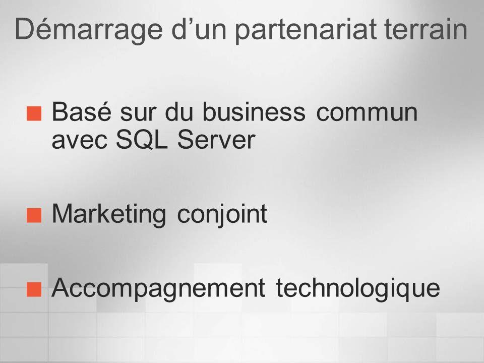 Démarrage dun partenariat terrain Basé sur du business commun avec SQL Server Marketing conjoint Accompagnement technologique