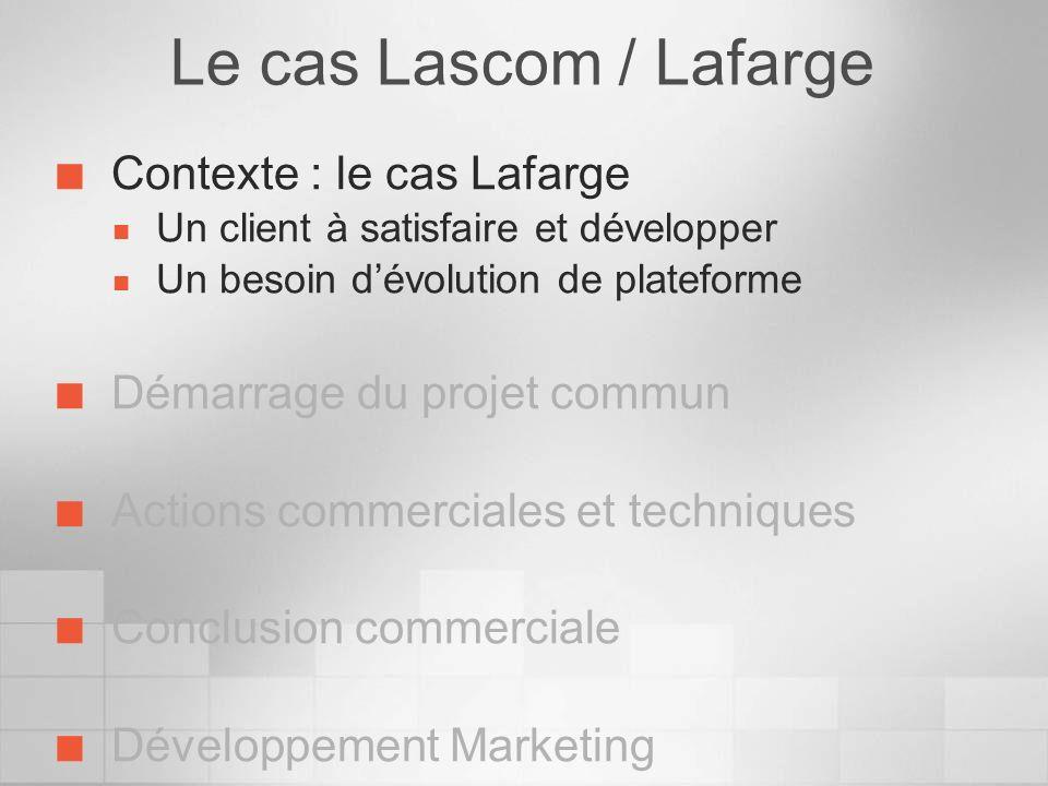 Le cas Lascom / Lafarge Contexte : le cas Lafarge Un client à satisfaire et développer Un besoin dévolution de plateforme Démarrage du projet commun A