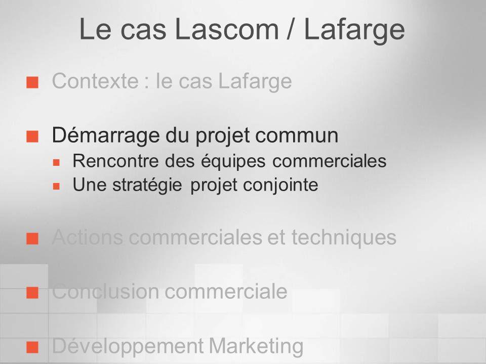 Le cas Lascom / Lafarge Contexte : le cas Lafarge Démarrage du projet commun Rencontre des équipes commerciales Une stratégie projet conjointe Actions