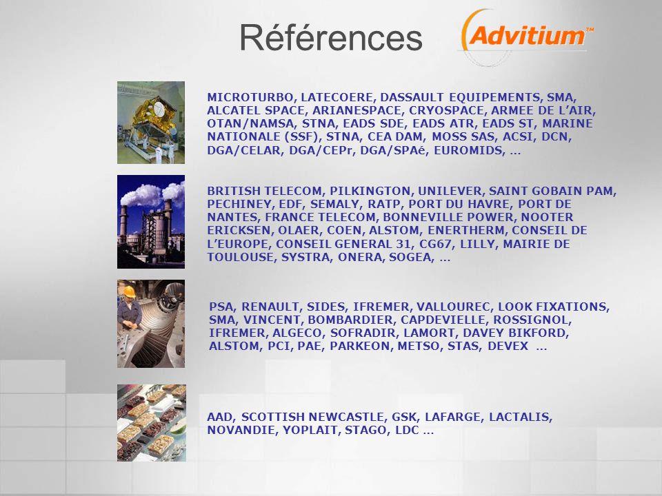 MICROTURBO, LATECOERE, DASSAULT EQUIPEMENTS, SMA, ALCATEL SPACE, ARIANESPACE, CRYOSPACE, ARMEE DE LAIR, OTAN/NAMSA, STNA, EADS SDE, EADS ATR, EADS ST, MARINE NATIONALE (SSF), STNA, CEA DAM, MOSS SAS, ACSI, DCN, DGA/CELAR, DGA/CEPr, DGA/SPAé, EUROMIDS, … BRITISH TELECOM, PILKINGTON, UNILEVER, SAINT GOBAIN PAM, PECHINEY, EDF, SEMALY, RATP, PORT DU HAVRE, PORT DE NANTES, FRANCE TELECOM, BONNEVILLE POWER, NOOTER ERICKSEN, OLAER, COEN, ALSTOM, ENERTHERM, CONSEIL DE LEUROPE, CONSEIL GENERAL 31, CG67, LILLY, MAIRIE DE TOULOUSE, SYSTRA, ONERA, SOGEA, … PSA, RENAULT, SIDES, IFREMER, VALLOUREC, LOOK FIXATIONS, SMA, VINCENT, BOMBARDIER, CAPDEVIELLE, ROSSIGNOL, IFREMER, ALGECO, SOFRADIR, LAMORT, DAVEY BIKFORD, ALSTOM, PCI, PAE, PARKEON, METSO, STAS, DEVEX … AAD, SCOTTISH NEWCASTLE, GSK, LAFARGE, LACTALIS, NOVANDIE, YOPLAIT, STAGO, LDC … Références
