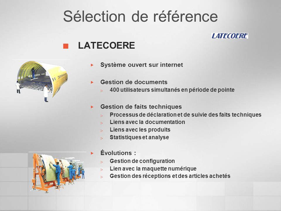 Sélection de référence LATECOERE Système ouvert sur internet Gestion de documents 400 utilisateurs simultanés en période de pointe Gestion de faits te