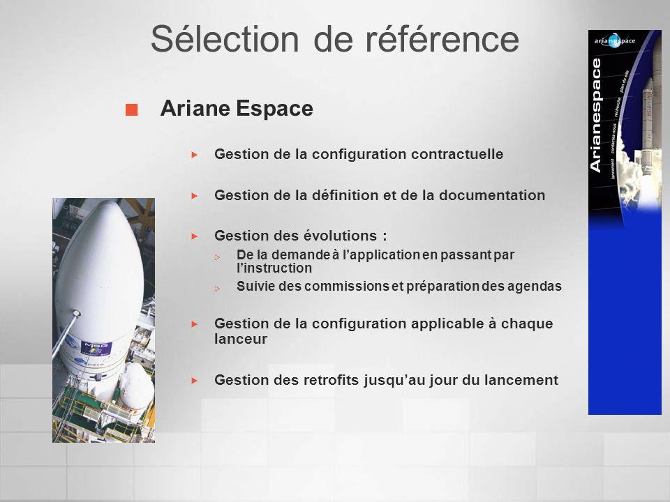 Ariane Espace Gestion de la configuration contractuelle Gestion de la définition et de la documentation Gestion des évolutions : De la demande à lappl