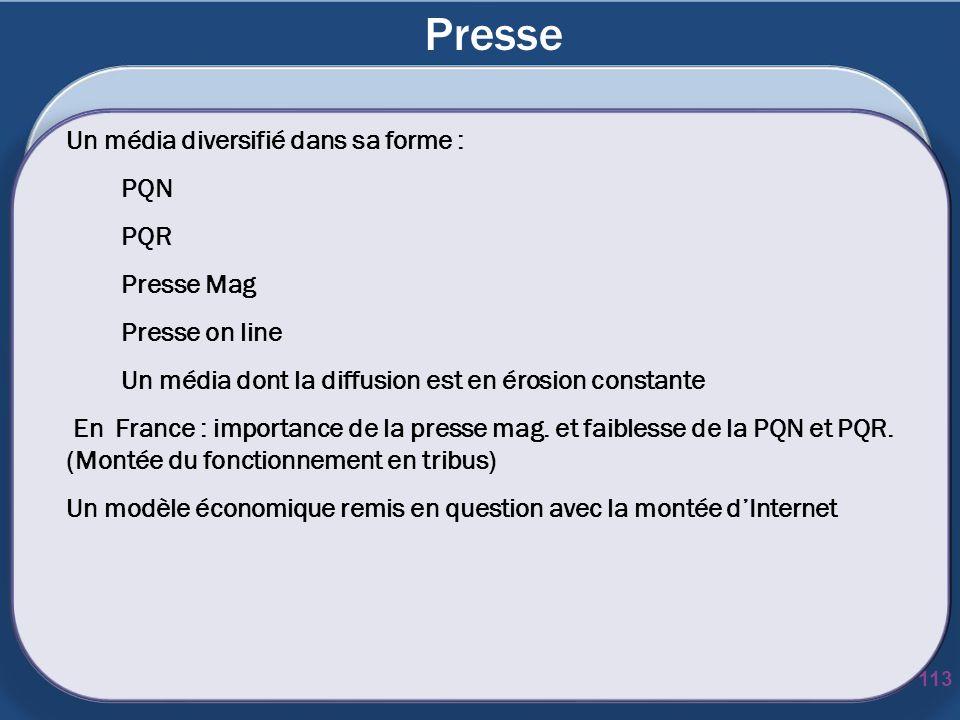 Presse 113 Un média diversifié dans sa forme : PQN PQR Presse Mag Presse on line Un média dont la diffusion est en érosion constante En France : impor