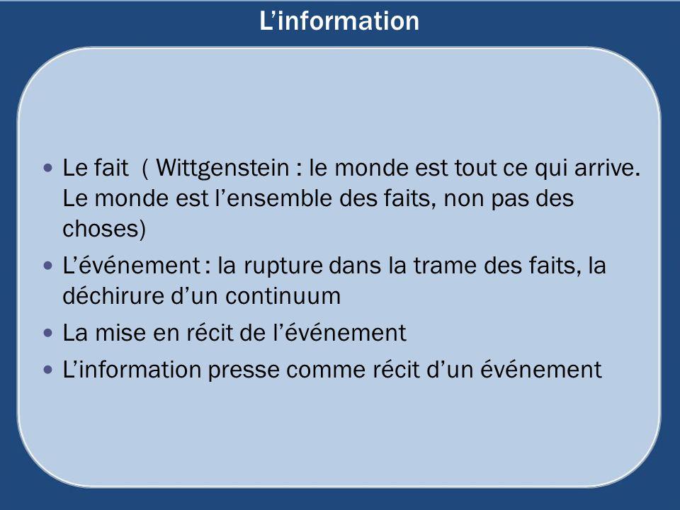 Linformation Le fait ( Wittgenstein : le monde est tout ce qui arrive. Le monde est lensemble des faits, non pas des choses) Lévénement : la rupture d
