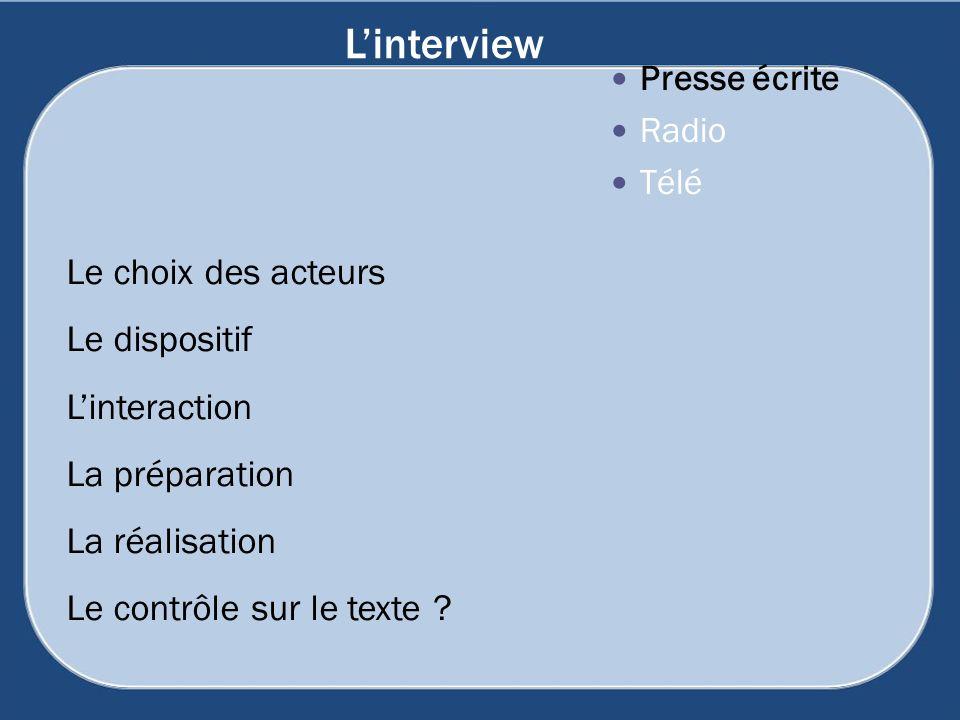 Linterview Presse écrite Radio Télé Le choix des acteurs Le dispositif Linteraction La préparation La réalisation Le contrôle sur le texte ?