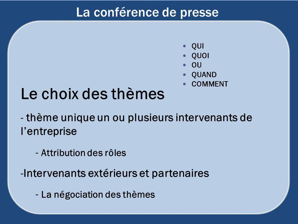 La conférence de presse Le choix des thèmes - thème unique un ou plusieurs intervenants de lentreprise - Attribution des rôles -Intervenants extérieur