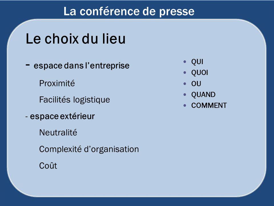 La conférence de presse Le choix du lieu - espace dans lentreprise Proximité Facilités logistique - espace extérieur Neutralité Complexité dorganisati