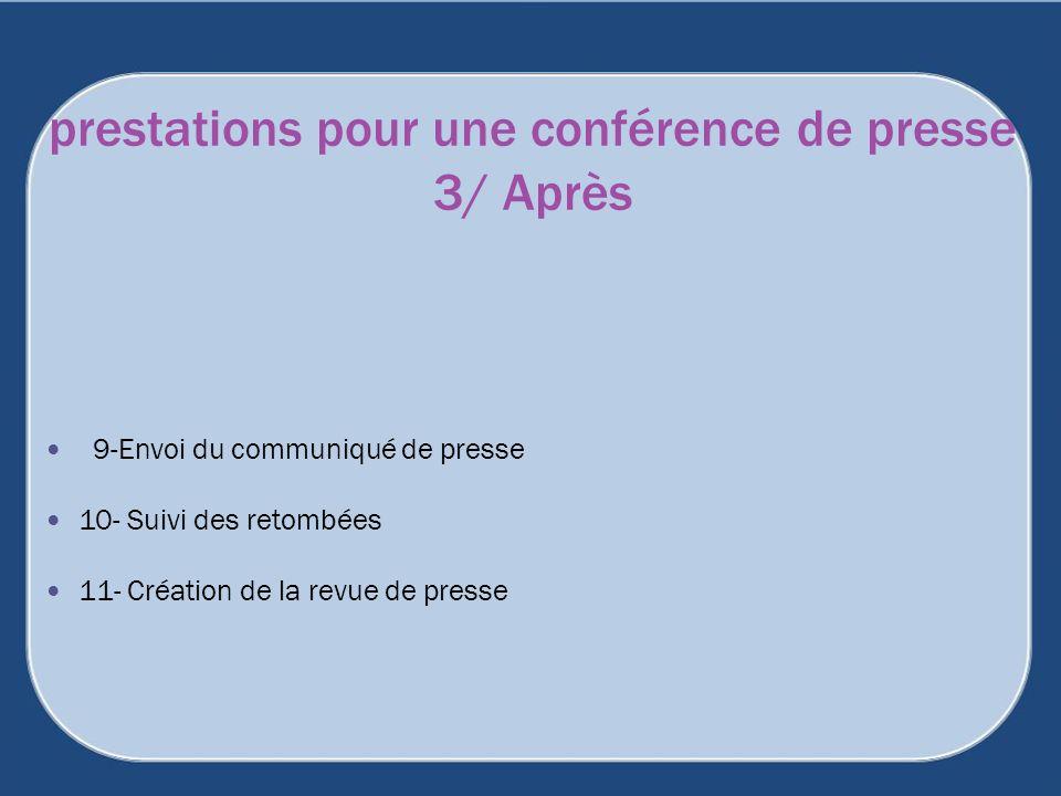 9-Envoi du communiqué de presse 10- Suivi des retombées 11- Création de la revue de presse prestations pour une conférence de presse 3/ Après