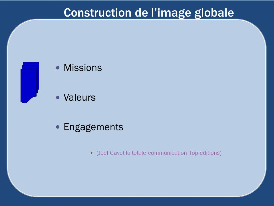 Construction de limage globale Missions Valeurs Engagements (Joel Gayet la totale communication Top editions)