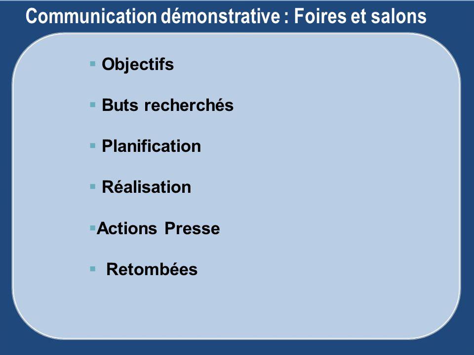 Communication démonstrative : Foires et salons Objectifs Buts recherchés Planification Réalisation Actions Presse Retombées