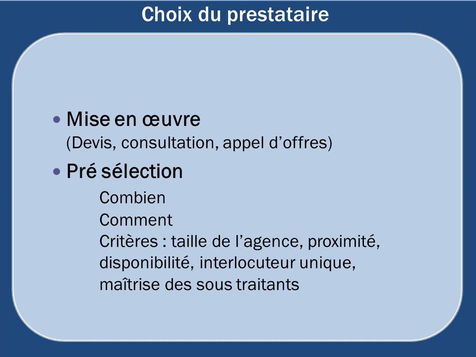 Choix du prestataire Mise en œuvre (Devis, consultation, appel doffres) Pré sélection Combien Comment Critères : taille de lagence, proximité, disponi