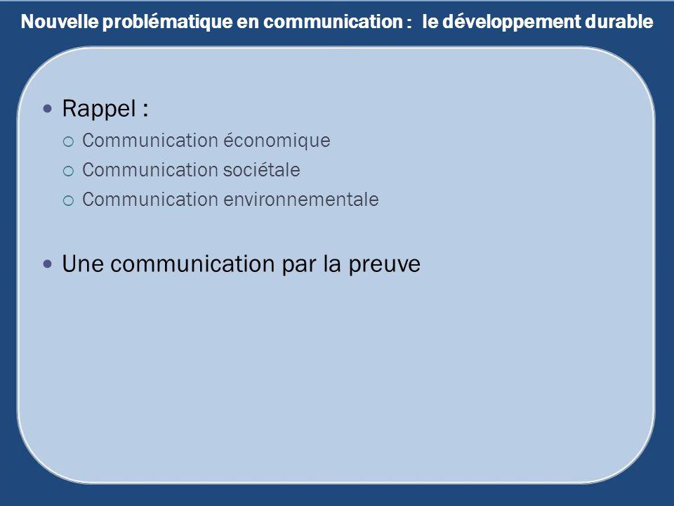 Nouvelle problématique en communication : le développement durable Rappel : Communication économique Communication sociétale Communication environneme