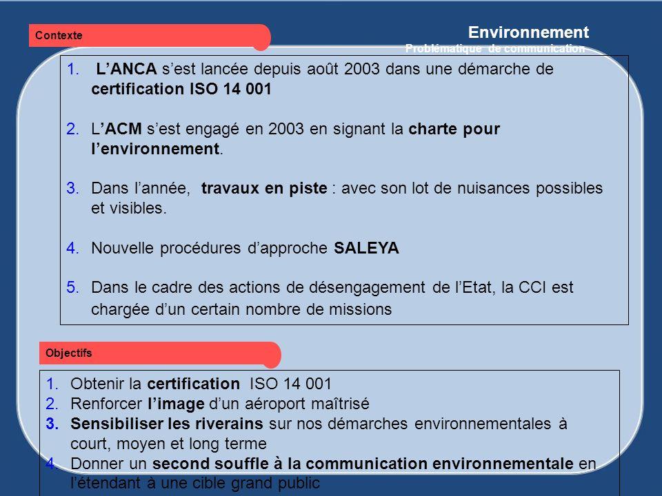 Environnement Problématique de communication 1. LANCA sest lancée depuis août 2003 dans une démarche de certification ISO 14 001 2.LACM sest engagé en