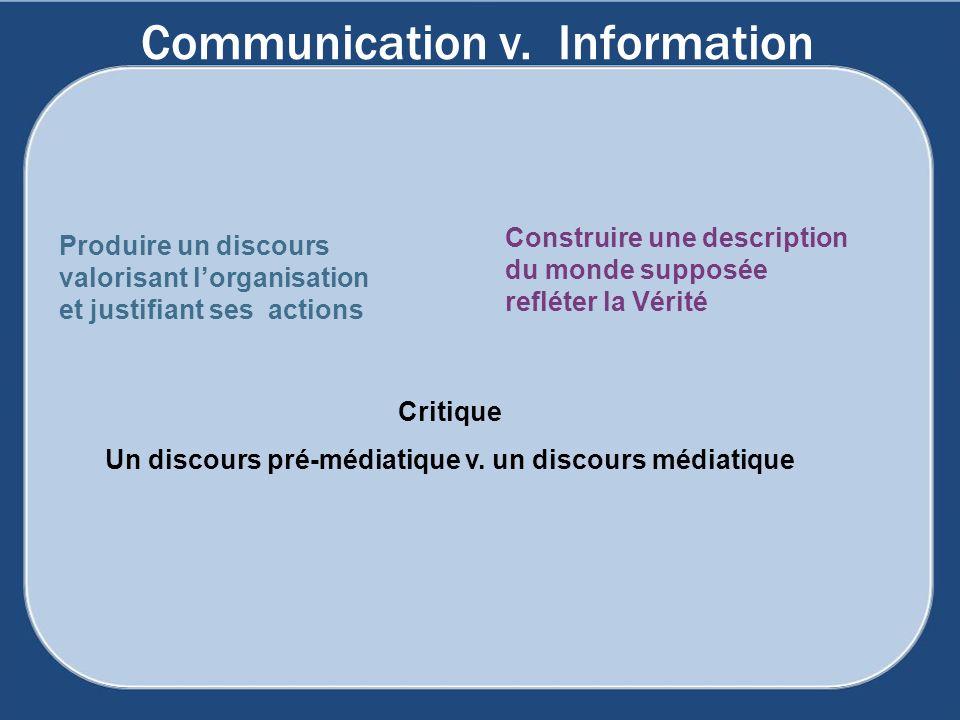 Communication v. Information Produire un discours valorisant lorganisation et justifiant ses actions Construire une description du monde supposée refl