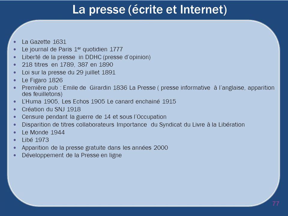 La presse (écrite et Internet) La Gazette 1631 Le journal de Paris 1 er quotidien 1777 Liberté de la presse in DDHC (presse dopinion) 218 titres en 17