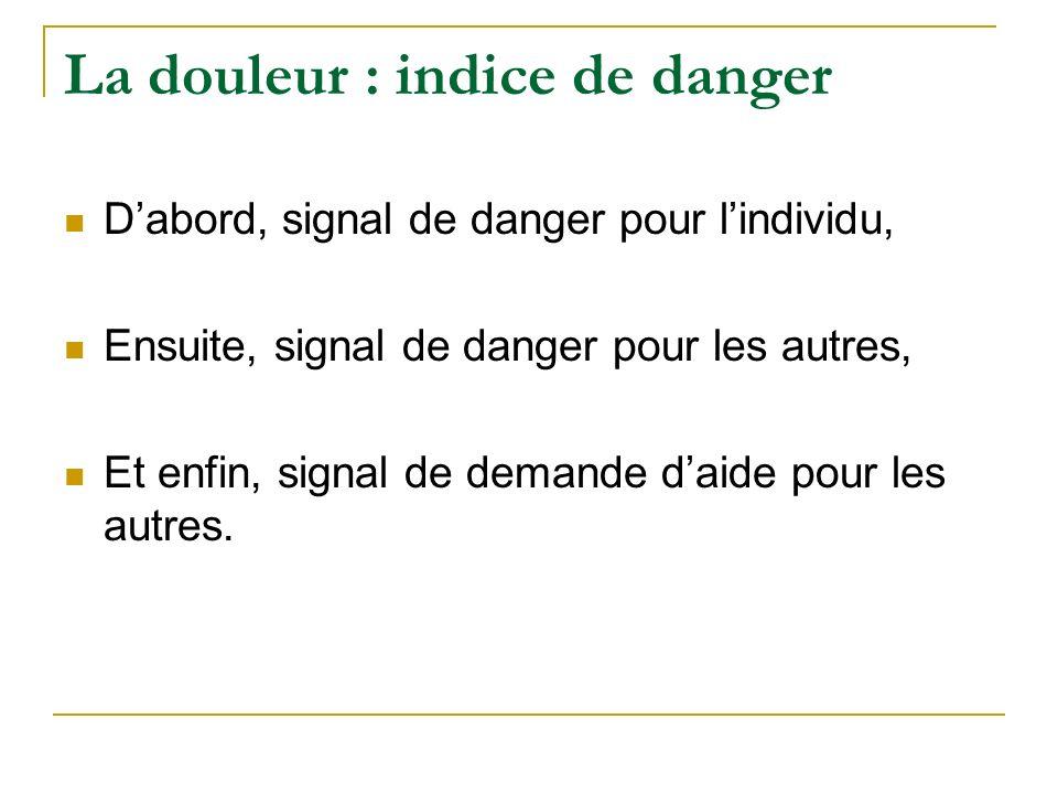 La douleur : indice de danger Dabord, signal de danger pour lindividu, Ensuite, signal de danger pour les autres, Et enfin, signal de demande daide po